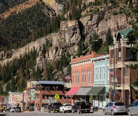 Classic western store fronts in Ouray Colorado