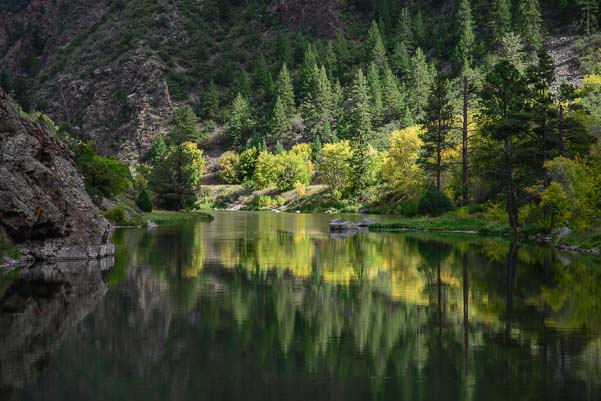 Mirrored water in the Gunnison River at Black Canyon Colorado