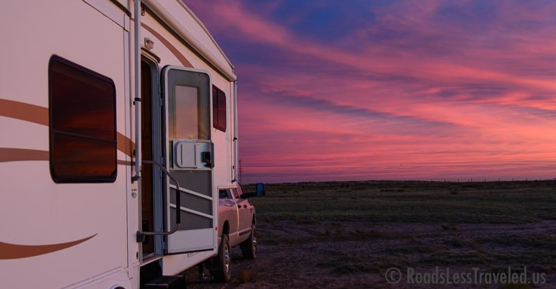 5th wheel RV at sunset in Arizona