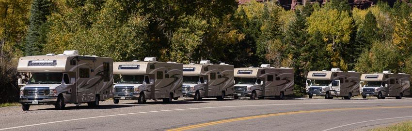 Rental RV fleet of Coachmen Leprechaun Class C motorhomes from RoadBearRV.com