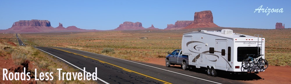 Arizona RV travel and camping adventure with a 5th wheel trailer in Monument Valley