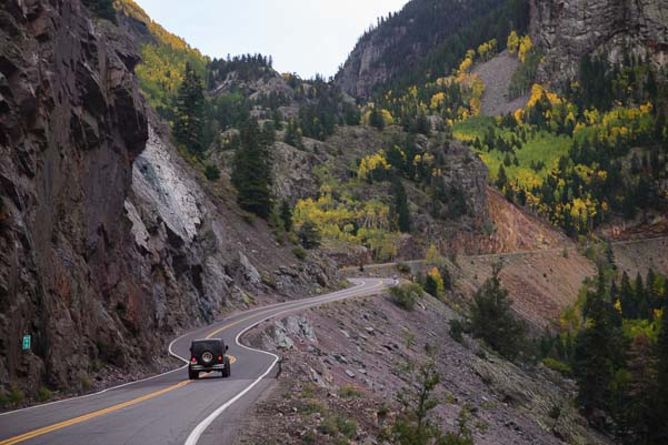 Scary drive on Million Dollar Highway Colorado