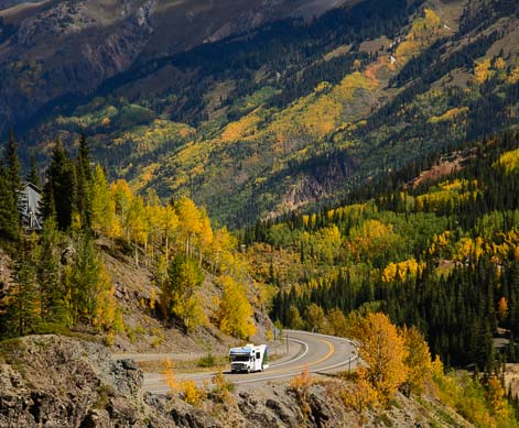 A motorhome on the San Juan Skyway in Colorado