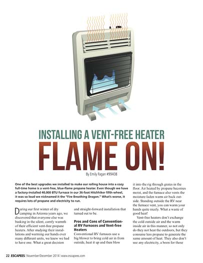 Flame On and Install a Vent-free Propane Heater in your RV
