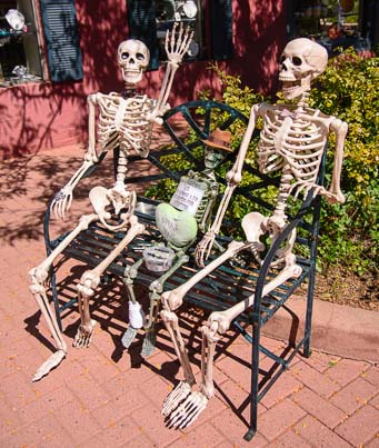 Skeletons outside a shop in Sedona Arizona
