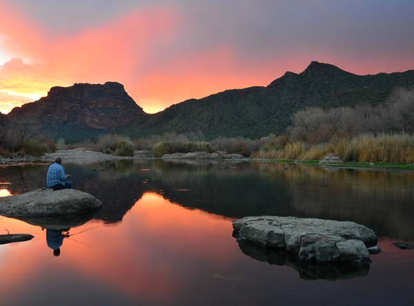 Fishing on the Salt River in Arizona at sunset