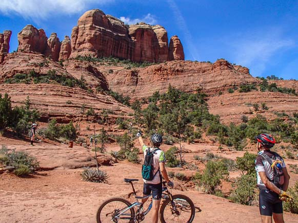 Mountain biking at Cathedral Rock in Sedona Arizona