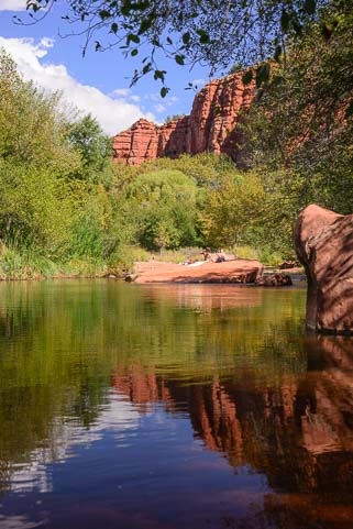 Hiking along Oak Creek at Red Rock Crossing in Sedona Arizona