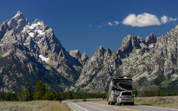 A motorhome driving through Grand Teton National Park Wyoming