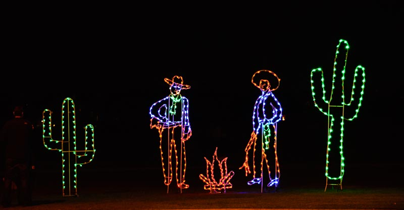 Cowboy and cactus Christmas lights in Arizona