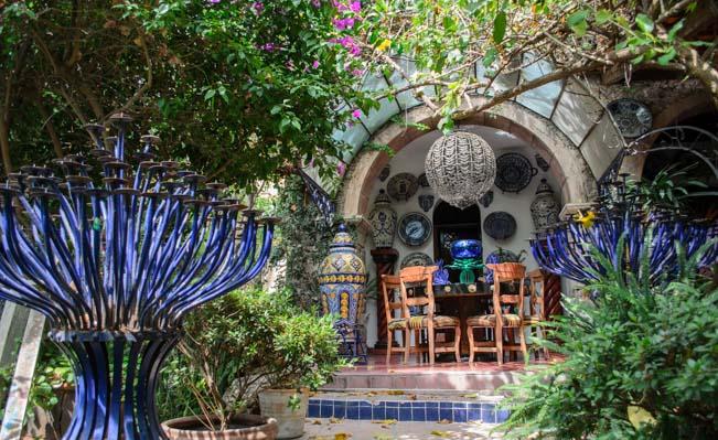 Glasswork in Toller Cranston's Garden in San Miguel de Allende Mexico