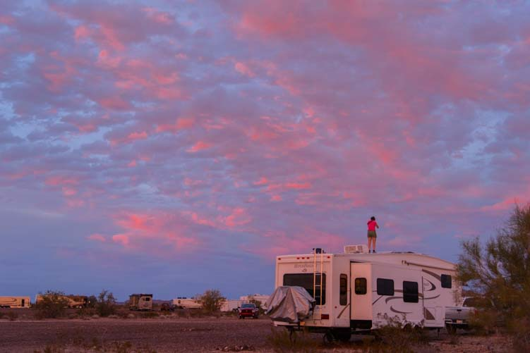 Getting a sunset photo in Quartzsite AZ from the roof of our RV