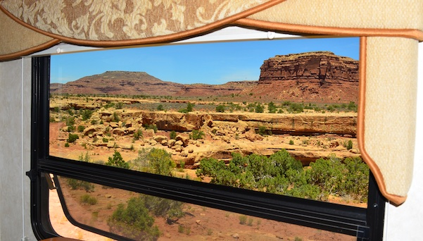 View from RV window in Utah