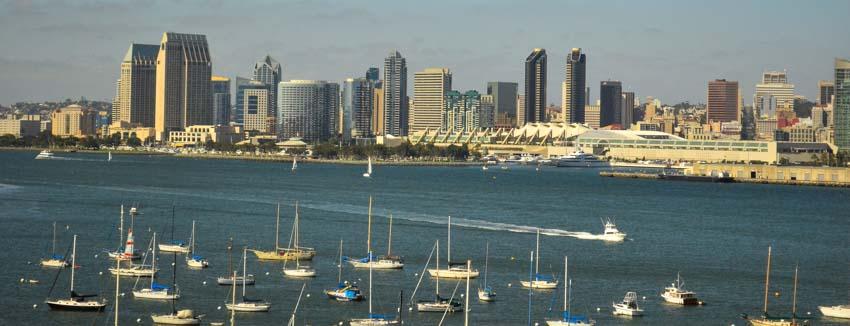 Sailboats anchored near Coronado Island in San Diego Bay California