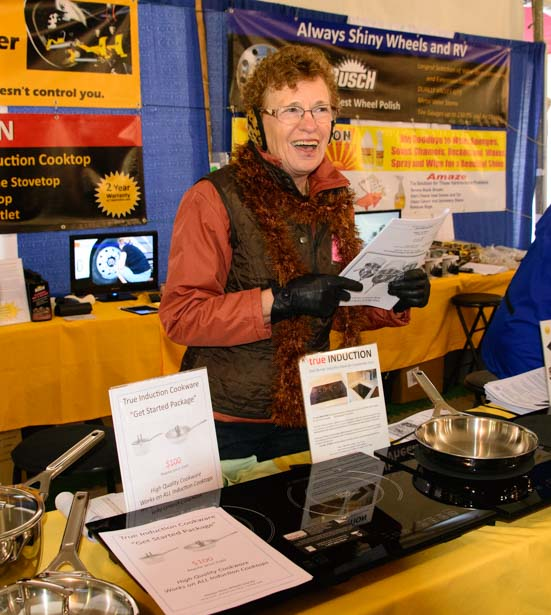 Induction cooking booth at the Quartzsite AZ RV Show