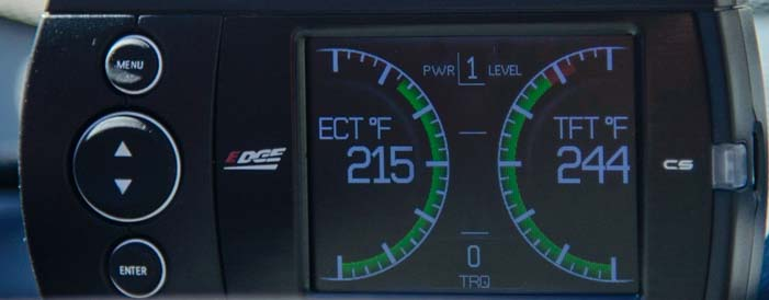 Edge Diesel Evolution CS Tuner showing high transmission fluid temperature