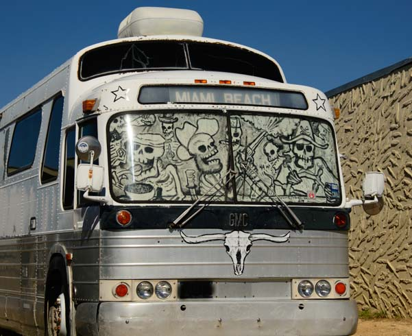 Terlingua skeletons in a bus