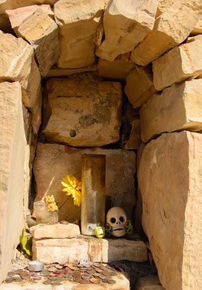 Skull in a cemetery shrine