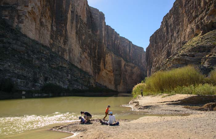 On the beach Santa Elena Canyon Big Bend Texas