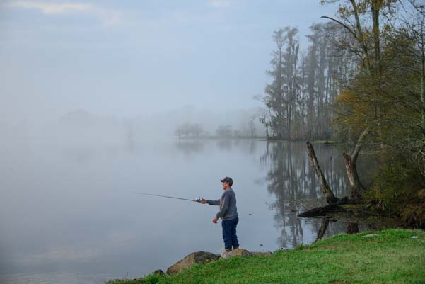Fisherman at Vinton Welcome Center in Louisiana