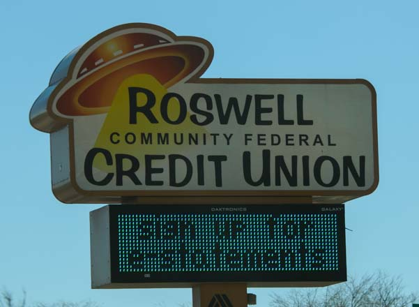 Roswell spaceship bank sign
