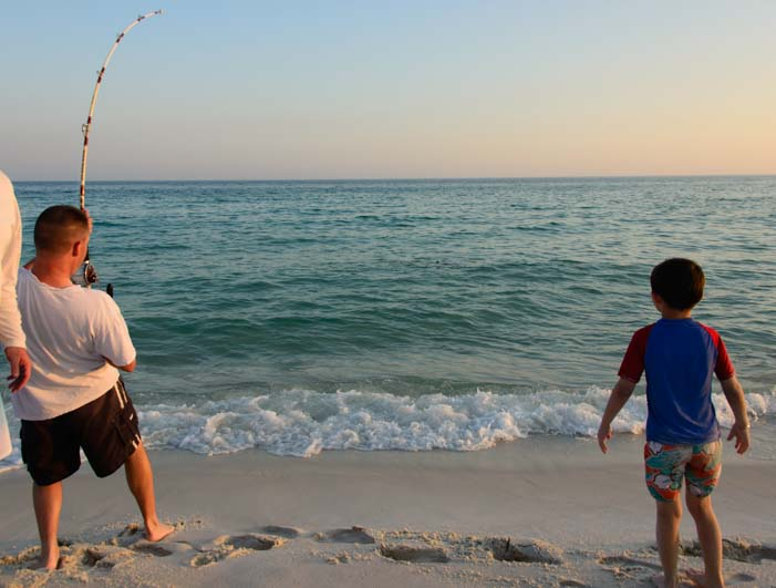 Catching a big fish on a Florida beach