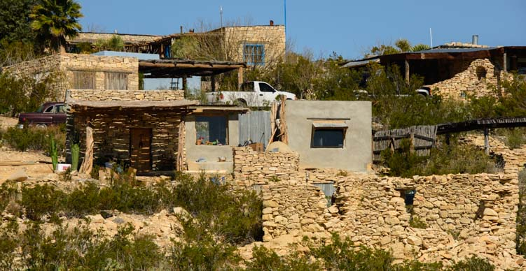 Mining ruins incorporated into modern houses in Terlingua Texas