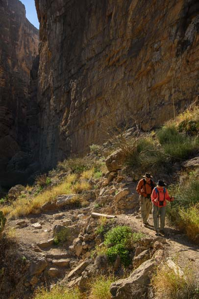 Hikers descend on trail in Santa Elena Canyon Big Bend National Park Texas