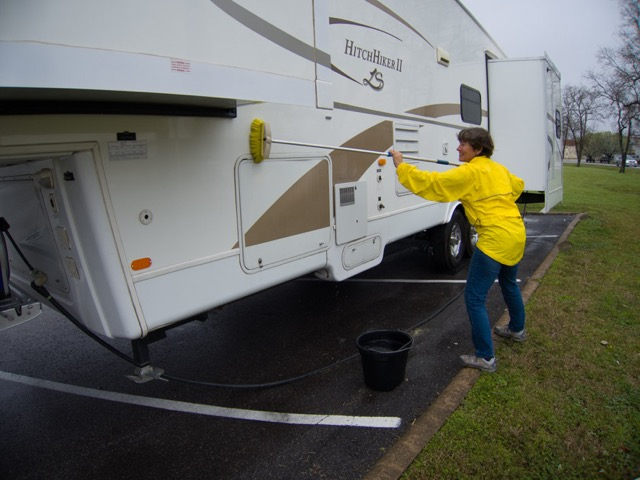 Using rain water to wash the RV
