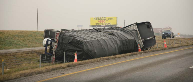 Freightliner truck rollover on Texas I-20 near Eastland