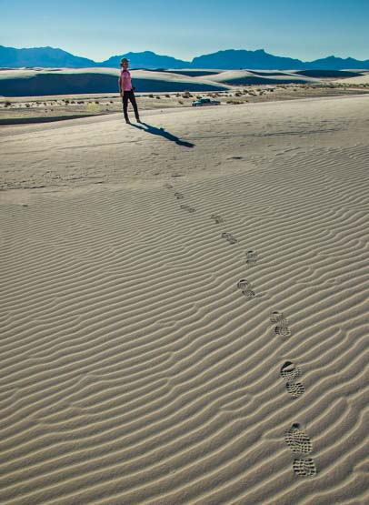 Footsteps leading to me in White Sands National Monument New Mexico