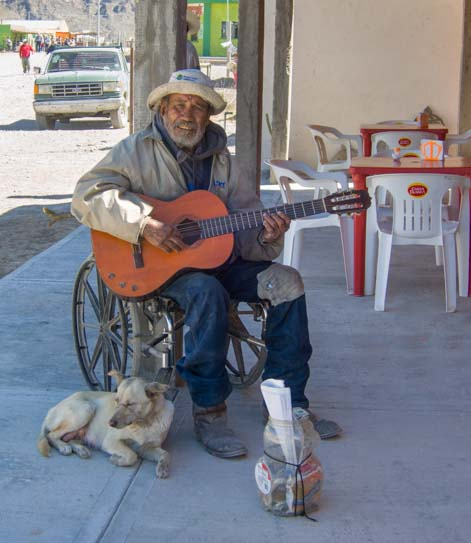 Street musician Boquillas del Carmen Mexico Big Bend National Park Texas
