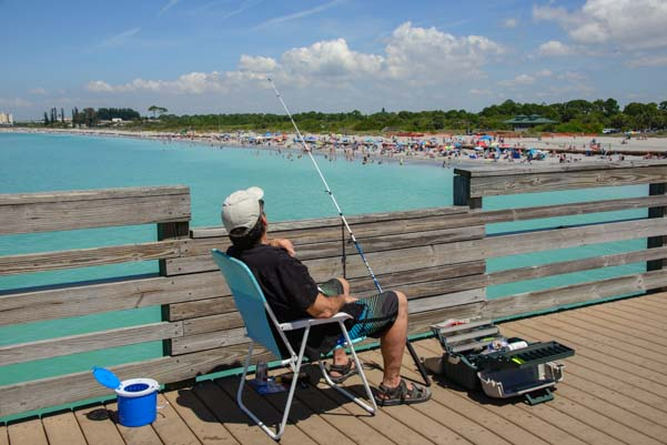 Fisherman on Venice FIshing Pier Florida