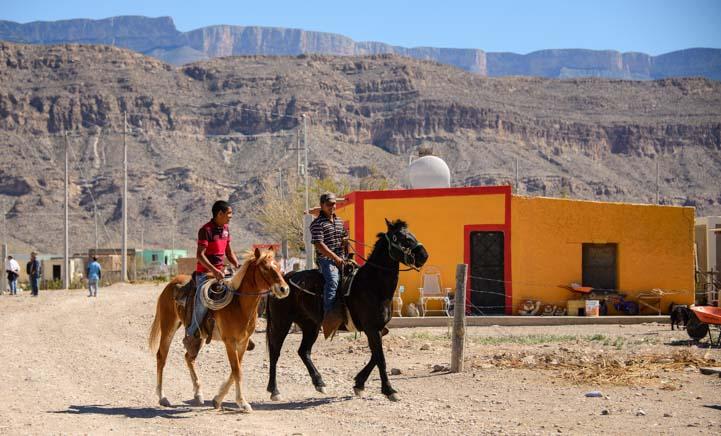 Horesback riders in Boquillas del Carmen Mexico_