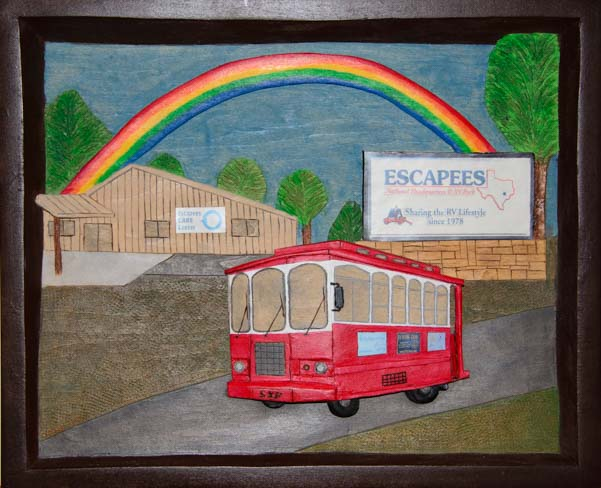 Rainbow's End painting wtih tour bus trolley