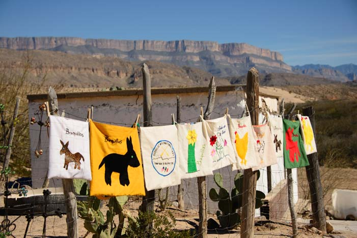 Towels and tablecloths on clothesline