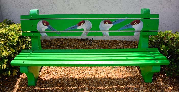 Sandhill crane park bench
