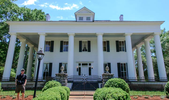 Stately antebellum mansion in Milledgeville Georgia