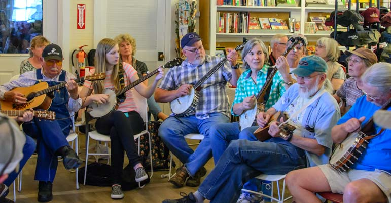 Banjos and guitars Sunday Music Jam Country Store Floyd Virginia