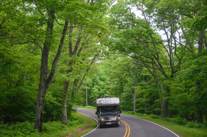 RV driving Skyline Drive Shenandoah National Park Virginia