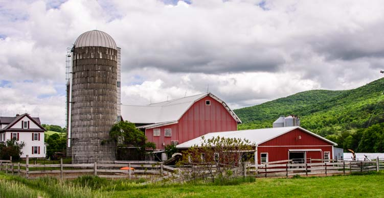 Silo and red barn farm Pennsylvania Dairy Country
