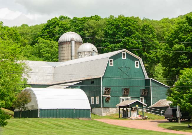 Green barn in rural Pennsylvania