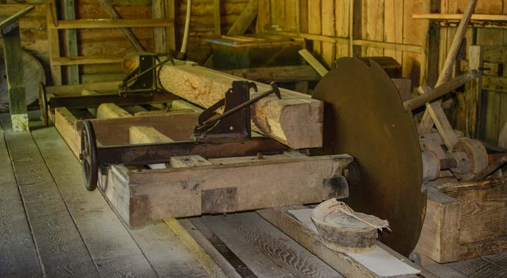 Mill saw inside Mabry Mill Virginia on the Blue Ridge Parkway
