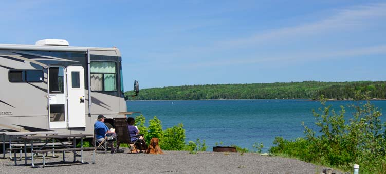 Motorhome in waterfront campsite Narrows Too RV Resort Maine near Acadia National Park