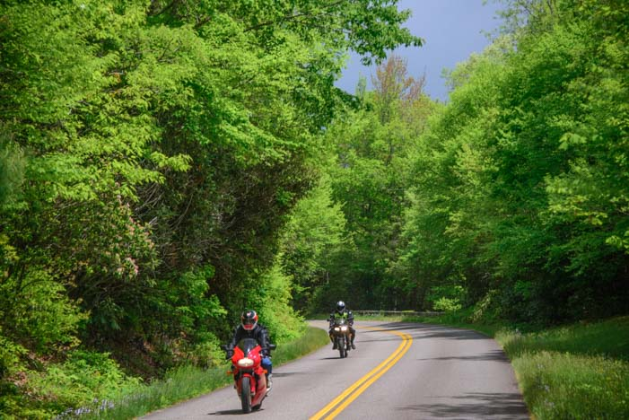Motorcycles on the Blue Ridge Parkway North Carolina