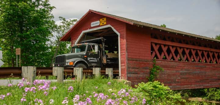 18 wheeler truck comes through Henry Covered Bridge in Bennington Vermont