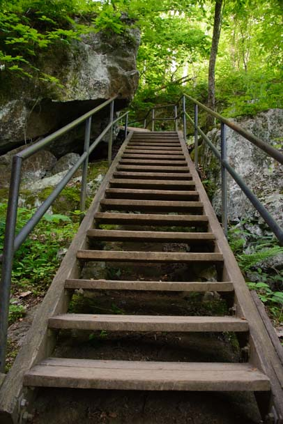 Hiking trail stairs Crabtree Falls Blue Ridge Parkway Virginia