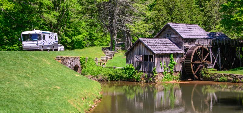 RV and Mabry Mill Blue Ridge Parkway Virginia