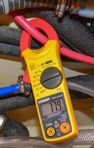 Sperry Clamp-On Ammeter measures current from engine alternator