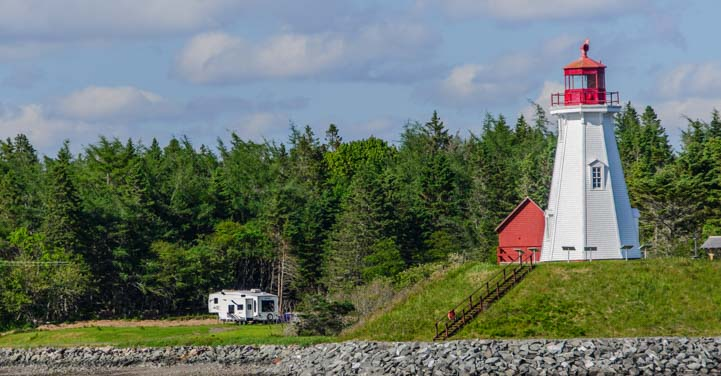 5th wheel RV at lighthouse Campobello Island New Brunswick